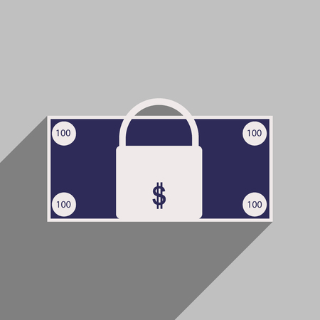 personal banking: Flat with shadow icon lock and dollar Illustration