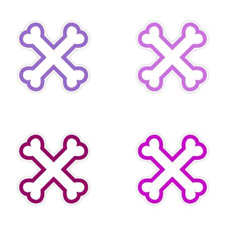 cross bones: sticker asamblea huesos cruzados apilados sobre un fondo blanco