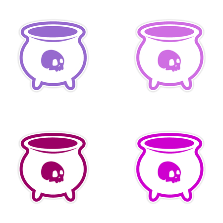 horrific: assembly sticker witches cauldron with a skull on white background