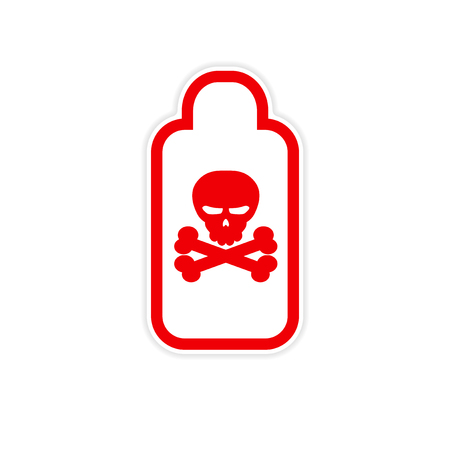 poison: sticker jar of poison on a white background Illustration