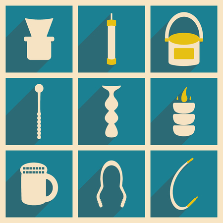 shisha: Flat with shadow concept and mobile application hookah icons