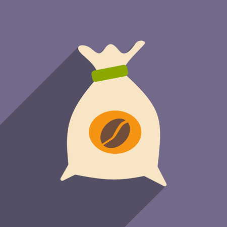 koffiebaal: Flat with shadow icon and mobile application coffee bag