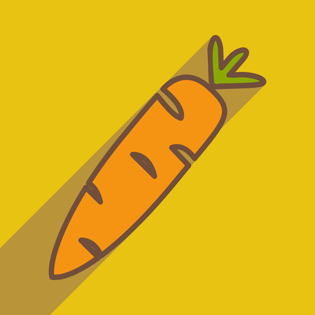 carotene: Flat with shadow icon and mobile application carrot