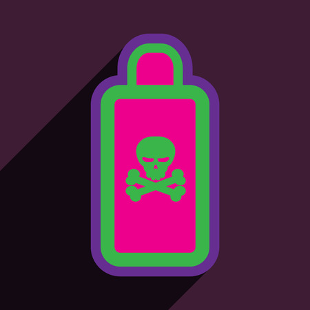 poisonous substances: Flat with shadow Icon of poison on a colored background Illustration
