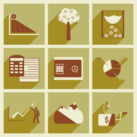 economy: Modern collection flat icons with shadow economy