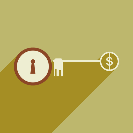 housing project: Modern flat icon with shadow key money Illustration