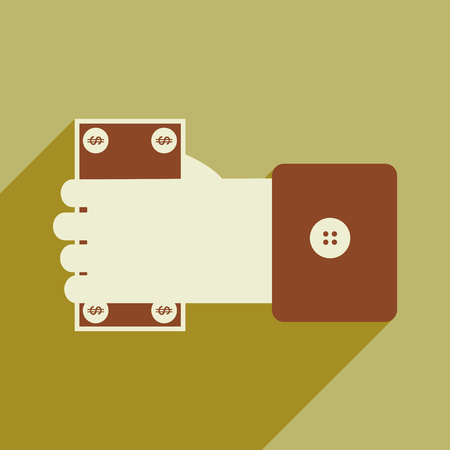 corrupt: Modern flat icon with shadow Money in hand Illustration