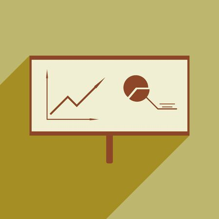 clip art cost: Modern flat icon with shadow chart diagram presentation Illustration