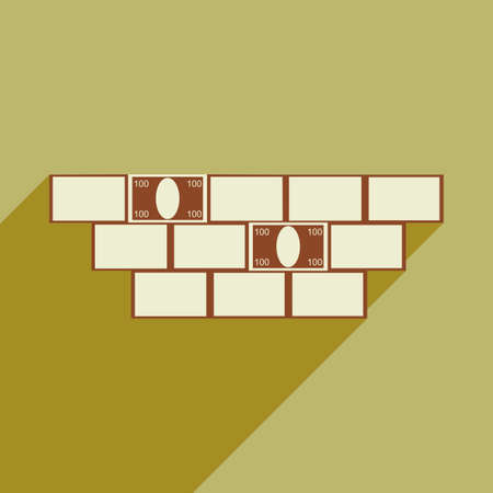 housing project: Modern flat icon with shadow construction and money