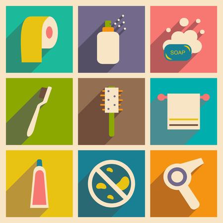 aseo personal: Apartamento de concepto de sombra y de aplicaciones móviles para el cuidado personal Vectores