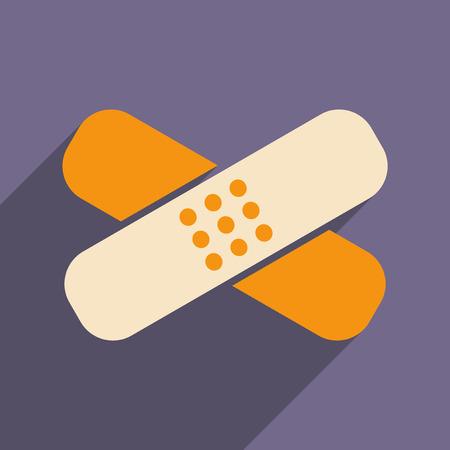 Vlak met schaduw icoon en mobiele applicatie medische gips Stock Illustratie