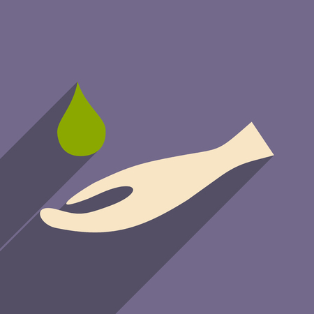 please wash your hands icon: Flat with shadow icon and mobile application hand hygiene