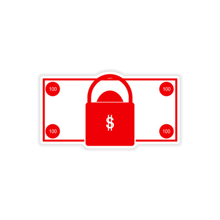 ben franklin money: stylish sticker on paper bill and lock