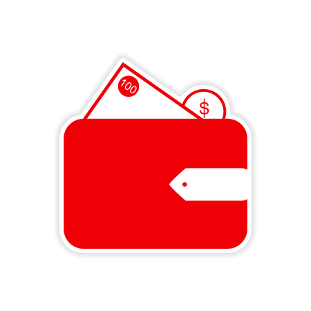 billfold: stylish sticker on paper purse and money Illustration