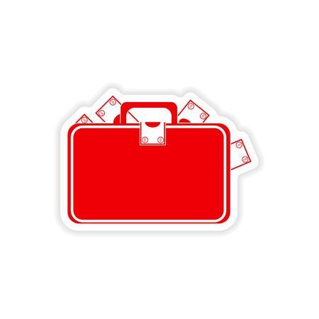 paper case: stylish sticker on paper case full of money Illustration