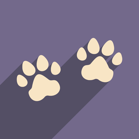 animals shadow: Flat with shadow icon and mobile application traces animals Illustration