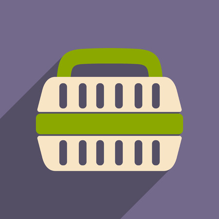 cat carrier: Flat with shadow icon and mobile application container for transport of animals