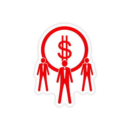 corporate greed: stylish sticker on paper coin and businessmen