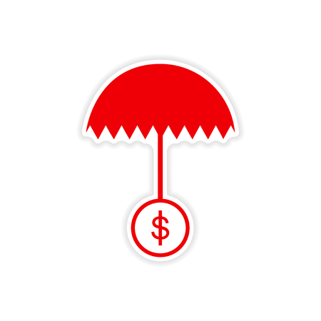 bank branch: stylish sticker on paper umbrella and coins Illustration