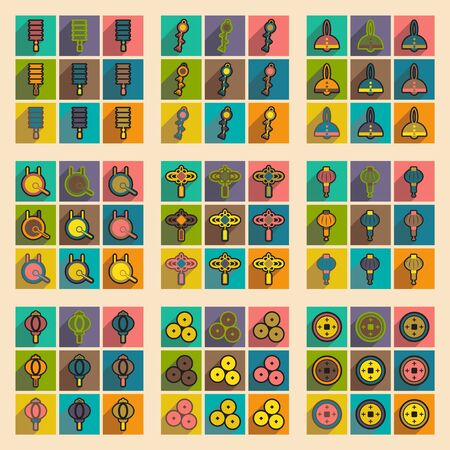 attributes: Stylish assembly icons of Japanese attributes realistic icon on purple