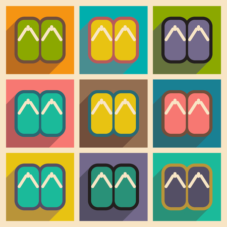 bamboo mat: Collection icons of Japanese slippers and realistic icon on purple Illustration