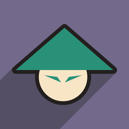 spicy mascot: Japanese hats and realistic icon on purple