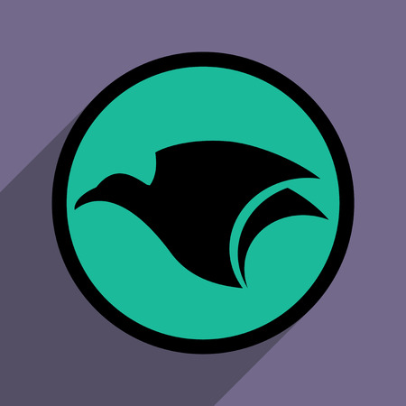 eagle flying: logo flying eagle and realistic icon on purple