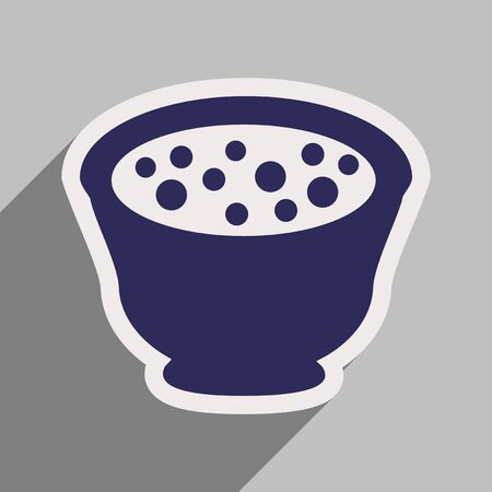 broth: Flat with shadow icon miso soup on stylish background Illustration