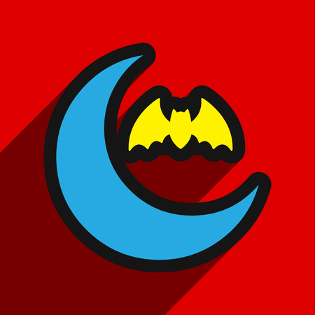 marple: Flat with shadow Icon  moon and bat on colored background Illustration