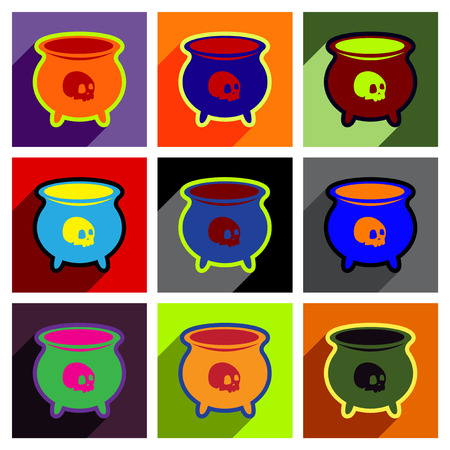wicked set: Flat with shadow concept icon cauldron on a bright background