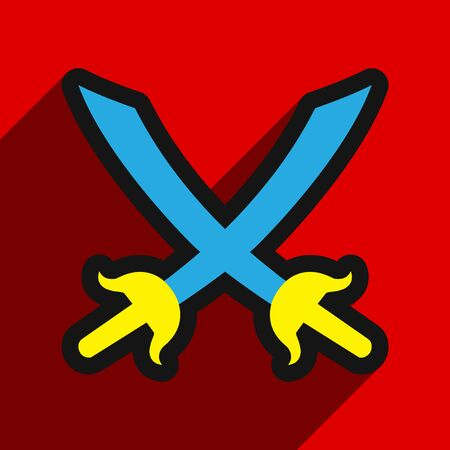 crossed swords: Flat with shadow Icon crossed swords on a colored background