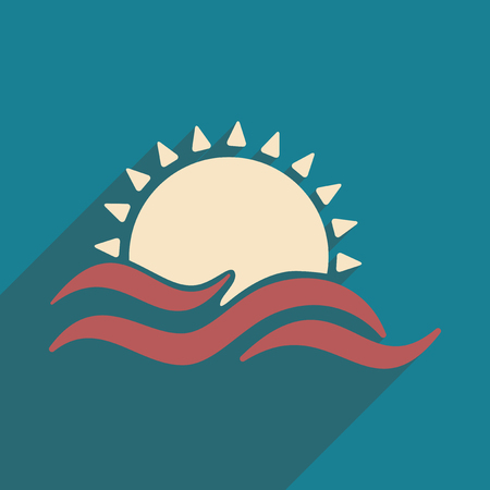 rise: Flat with shadow icon and mobile application sunset Illustration