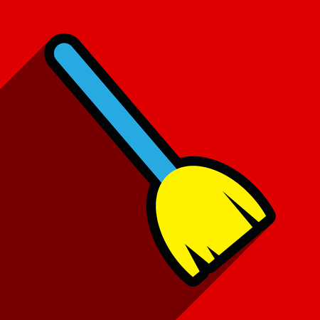 besom: Flat with shadow Icon broom on bright background