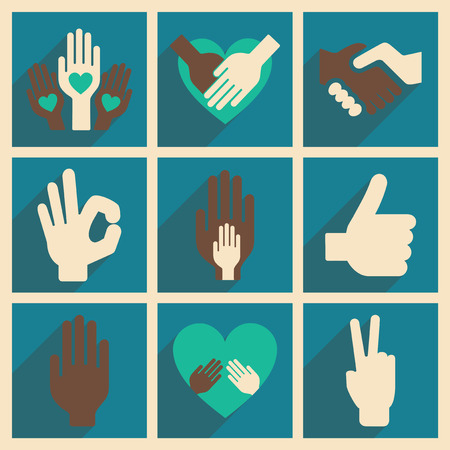 10 fingers: Flat with shadow concept and mobile application hands icon Illustration
