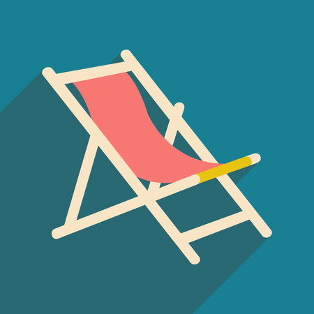 deck chair: Flat with shadow icon and mobile application deck chair Illustration