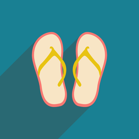 beach slippers: Flat with shadow icon and mobile application beach slippers Illustration