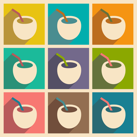 coconut drink: Flat with shadow concept and mobile application coconut drink