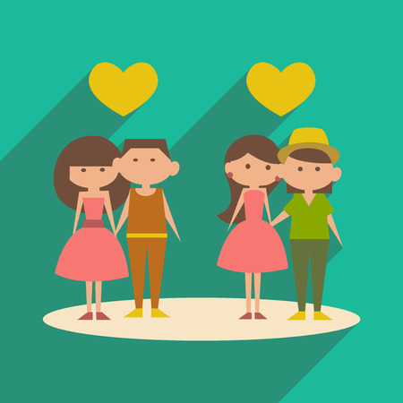 romantic date: Flat with shadow icon and mobile application romantic date