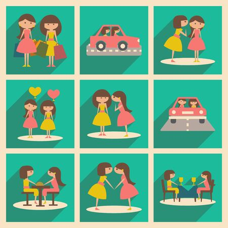 girlfriend: Flat with shadow concept and mobile application female friendship Illustration