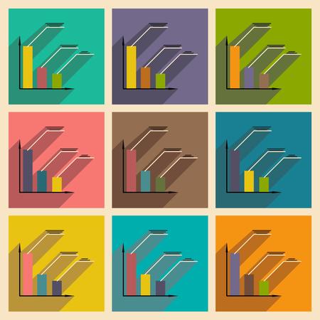 economic interest: Flat with shadow icon concept Stylish economic schedule