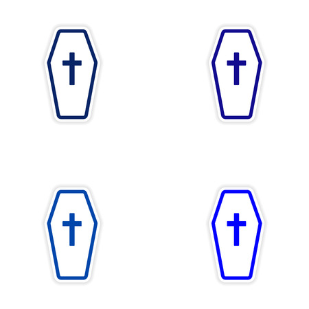 christian halloween: assembly realistic sticker design on paper coffin