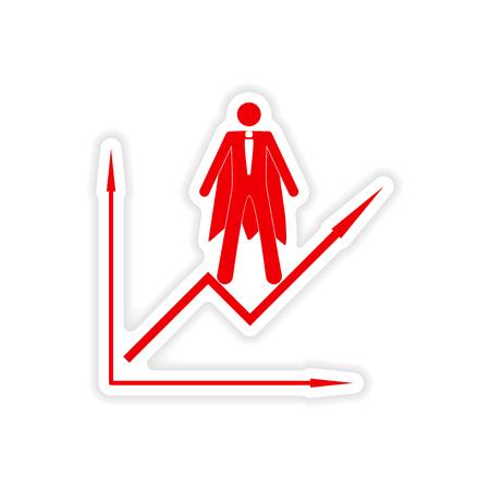 economic: stylish sticker on paper man economic schedule