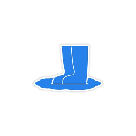 welly: icon sticker realistic design on paper rubber boots