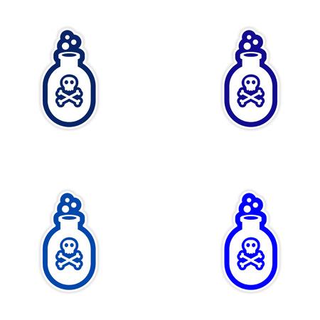 veneno frasco: diseño de etiqueta montaje realista sobre la botella del veneno de papel