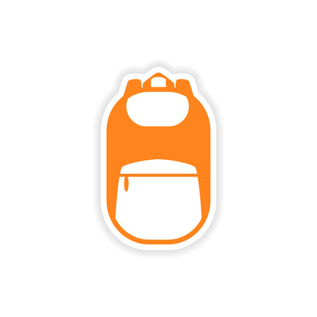 back view student: icon sticker realistic design on paper backpack