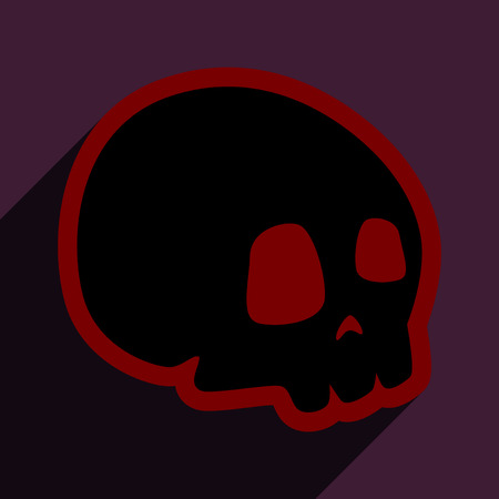 skull icon: Flat with shadow icon and mobile application skull icon
