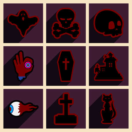 customization: Flat with shadow concept and mobile application halloween icons