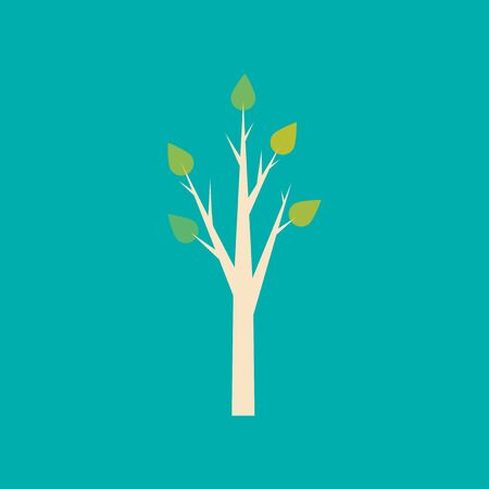 deciduous: Flat with shadow icon and mobile application tree deciduous