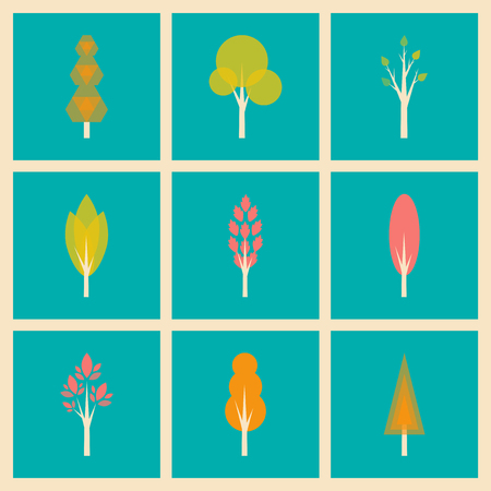 customization: Flat with shadow concept and mobile application trees forest