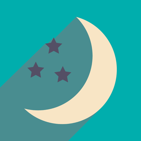 milkyway: Flat with shadow icon and mobile application stars moon Illustration